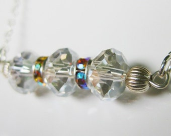 Clear AB Swarovski Crystal and Sterling Silver Necklace