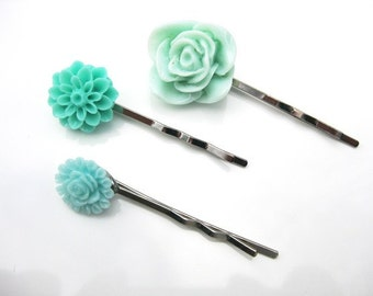 Aqua Color Mum and Rose Bobby Pins  B-80
