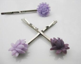 Lavender Purple Lotus and Rose Bobby Pin Set  B-60