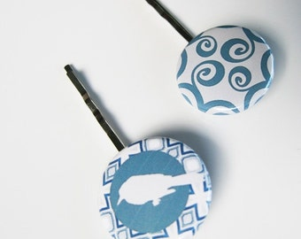 Slate Blue and White Toile and Bird Bobby Pins:  Image 2 B-70