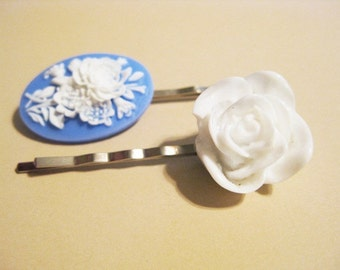 Blue and White Roses Cameo and White Rose Bobby Pin Set  B-17