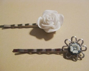 White Rose and Slate Blue Floral Bobby Pin Set B-11