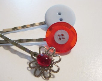Red and Light Blue Button and Red Glass Silver Bobby Pin Set: Series 2 B-77b