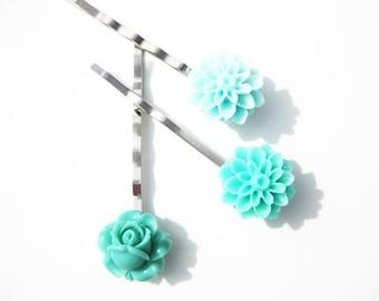 Aqua Rose and Mum Bobby Pin Set B-1