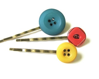 Dark Teal, Yellow, and Red Button Bobby Pin Set B-68a
