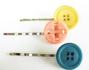 Dark Teal, Yellow, and Peach Button Bobby Pin Set B-8b