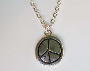 Silver Peace Sign Necklace  CN-2