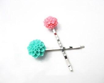Aqua and Pink Floral Bobby Pin Set  B-26