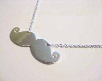 Silver Mustache Chain Necklace