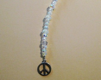Peace Sign Symbol and Swarovski Crystal Suncatcher