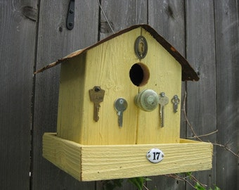 Embellished Yellow Birdhouse Bird Feeder:  Birdie Bed & Breakfast