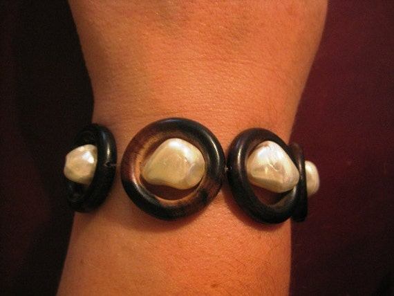 Ebony Wood and Mother of Pearl Bracelet