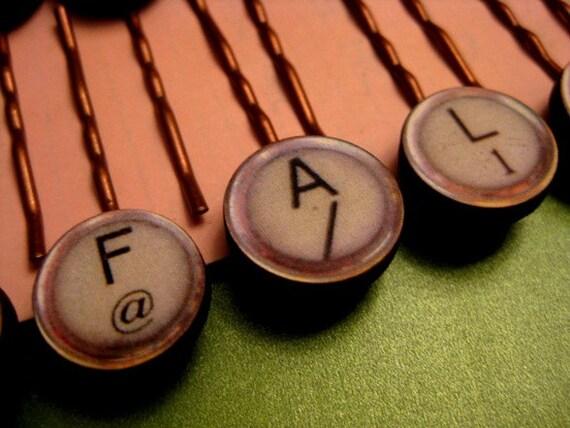 Faux Typewriter Key Bobby Pin
