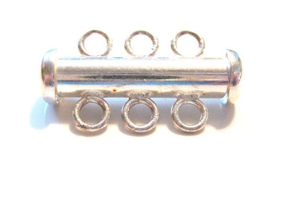 Solid Sterling Silver Slide Clasp for Three-strand Necklaces