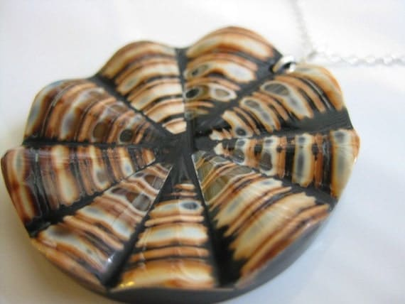 Natural Shell and Black Resin Pendant Sterling Silver Necklace