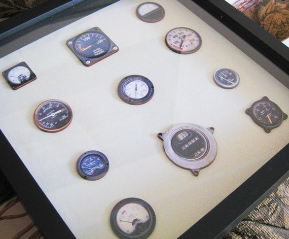 Steampunk Antique Meters and Gauges Display Shadow Box