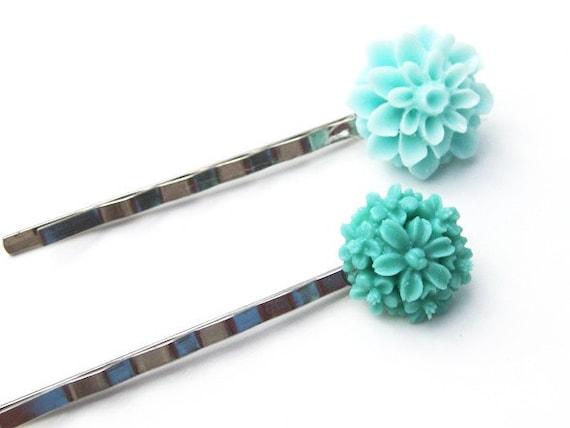 Aqua/ Turquoise/ Mint Color Floral Bobby Pin Set