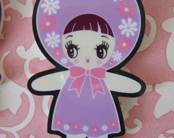 Lavender Bunka Doll Necklace w/silver chain- SALE