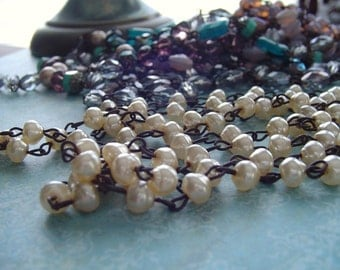 CReam BaRoque PeaRL Beaded Chain Aged Dark Patina wire links ...Rosary bead chain
