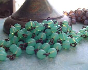 Milky Sea GreeN Opaline glass Beaded Rosary Chain Aged Dark Ox Patina wire links