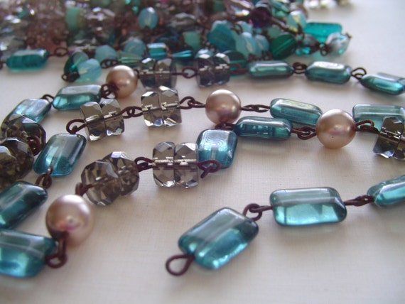 Hand Beaded Czech Glass Bead Chain oOo  Dark Patina Links oOo Smoky Quartz glass PeaRL light aqua