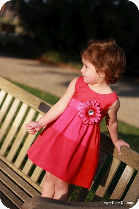 "The ""Audrey"" Toddler Dress - Pink and Red"