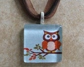 Glass Tile Pendant Necklace - Owl on Blue Background - Chain Included