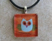Glass Tile Pendant Necklace - Cute Blue Owl - Chain Included