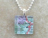 Glass Tile Pendant Necklace - Boulder, CO, Map - Chain Included