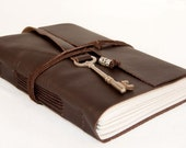 Dark Brown Leather Journal with Antique Skeleton Key Bookmark