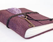 Purple Leather Journal with Heart Key Charm Bookmark