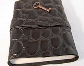 Key To My Heart Embossed Black Leather Journal