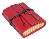 Red Leather Journal with Coffee Stained Paper