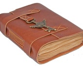Light Brown Leather Journal with Winged Clock Key Charm Bookmark