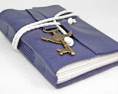 Purple Leather Journal with Winged Clock Key Charm Bookmark