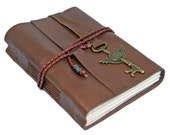 Brown Leather Journal with Winged Clock Key Charm Bookmark