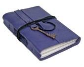 Purple Leather Journal with Antique Skeleton Key Bookmark