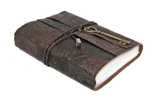 Floral Embossed Brown Leather Journal with Heart Key Charm Bookmark