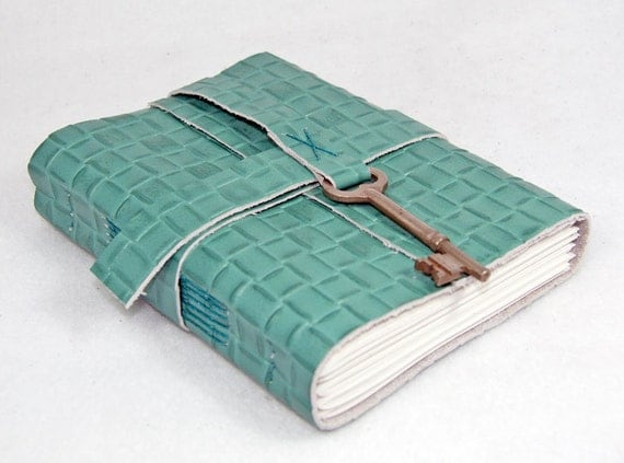 Green Leather Journal with Antique Skeleton Key Bookmark