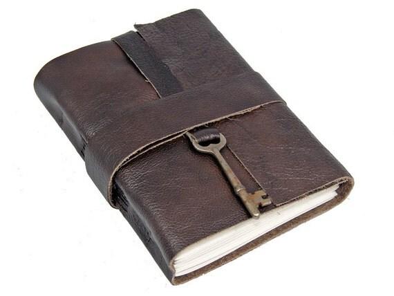 Dark Brown Leather Journal with Antique Skeleton Key Bookmark