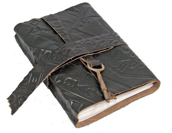 Black Leather Journal with Skeleton Key Bookmark