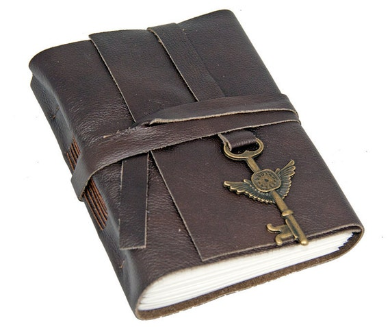 Dark Brown Leather Journal with Winged Clock Key Charm Bookmark