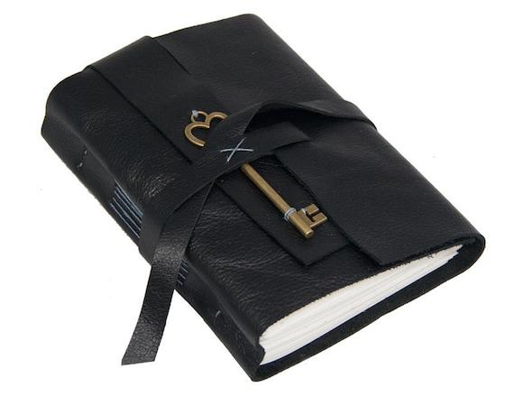 Black Leather Journal Heart Key Charm Bookmark