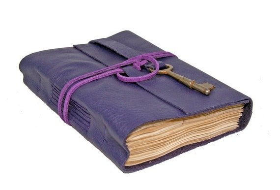 Purple Leather Journal with Tea Stained Paper