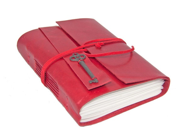 Red Leather Journal with Key Charm Bookmark