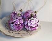 Christmas Ornaments - Hand Painted White on Purple - Set of 4 --OOAK   Shabby Chic
