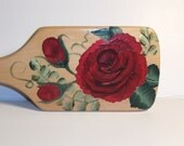 Red Roses Hairbrush - Wooden - Hand Painted OOAK
