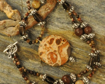 Picture Jasper necklace with Smokey Quartz