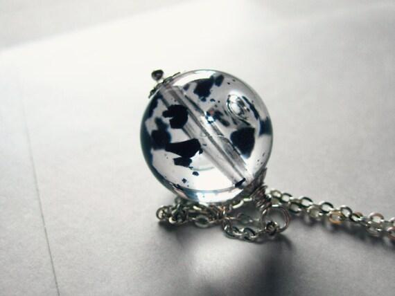 Ink drops - vintage acrylic orb necklace