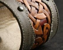 "Leather Cuff, Leather Bracelet:  leather cuff with a celtic design ""Celtic Trilogy Cuff"""